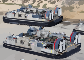 Landing Craft Air Cushion (lcac) Vehicles From Assault Craft Unit Five (acu-5), Loaded With Elements Of The 1st And 3rd Light Armored Reconnaissance (lar) Units. Clip Art
