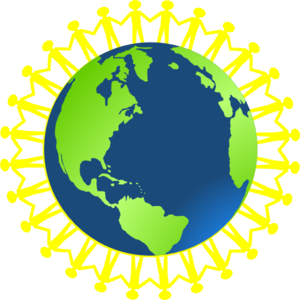 Children Holding Hands Around Globe Clip Art
