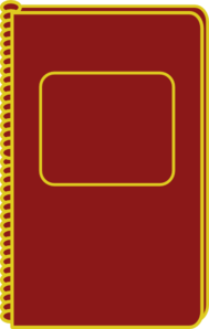 Maroon/gold Notebook Clip Art