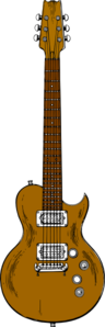 Brown Bass Guitar Clip Art
