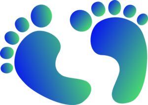 Blue & Green Baby Feet Clip Art