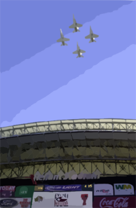 A Formation Of Navy F/a-18 Hornets Flys Over The Ev1.net Houston Bowl At Reliant Stadium In Houston, Texas. Clip Art