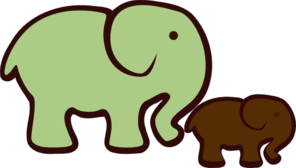 Elephant Mom & Baby Clip Art