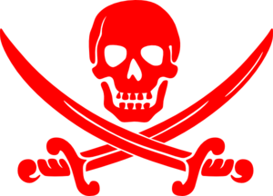 Red Crossbones Skull Clip Art