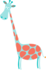 Giraffe Coral And Teal Clip Art