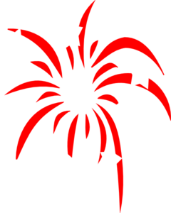 Red Fireworks With White Stars Clip Art