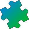 Blue Green Puzzle Piece - Small Clip Art