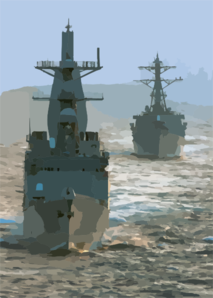 Destroyers At Sea Clip Art