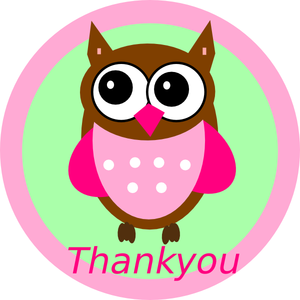 Clipart Thank You: Pink Owl Thankyou Tag Clip Art At Clker.com
