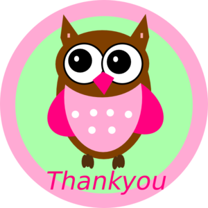 Pink Owl Thankyou Tag Clip Art
