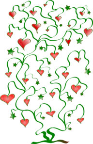 Tree Of Hearts With Leaves Of Stars Clip Art