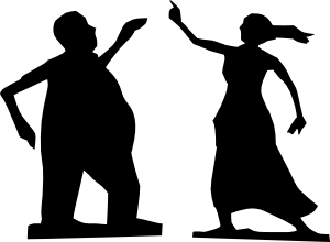 Man And Woman Dancing Silhouettes Clip Art