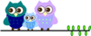 Owl Family On Branch Clip Art