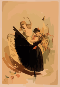 [two Women Dancing, One In Yellow Dress And One In Black Dress With Tambourine] Clip Art