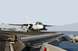 An S-3b Viking Aunches From The Flight Deck Aboard Uss Harry S. Truman (cvn 75) As Another S-3b Viking Prepares To Launch Clip Art