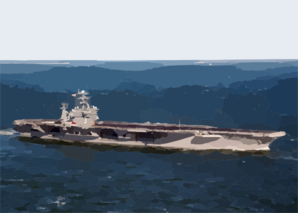 Uss George Washington (cvn 73) Sails Past The Chesapeake Bay Bridge Tunnel Into The Atlantic Ocean To Start Her Deployment. Clip Art