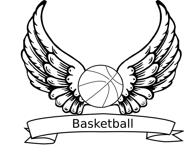 Basketball angel wings clip art at vector clip for Free basketball coloring pages