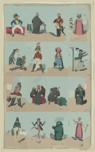 Characters In The New Piece Now Poforming [sic] At The Theatre Royal Cotten Garden 1820 Clip Art