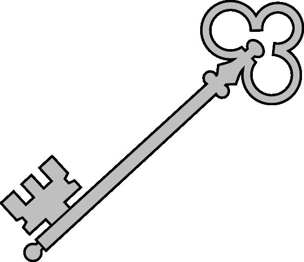 Line Art Key : Black olde key clip art at clker vector