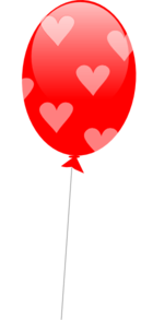 Red Balloon With Hearts Clip Art