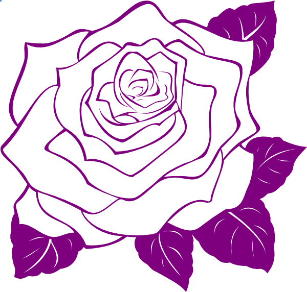 White Rose With Purple Outline Clip Art at Clker.com ...