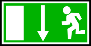 Green Emergency Exit - Down Clip Art