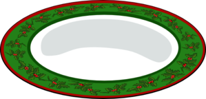 Green Plate With Red Outline Clip Art