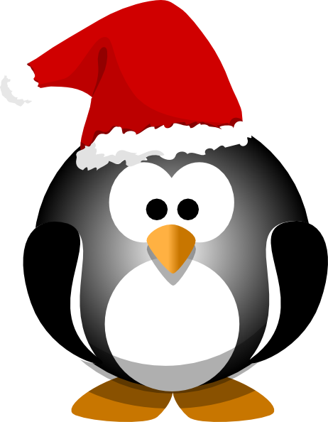 Penguin Wearing Santa Hat Clip Art at Clker.com - vector ...