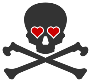 Crossbones With Hearts Clip Art