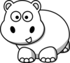 Side Hippo Outline Clip Art