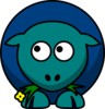 Sheep Teal Blue Two Toned Looking Up To Left Clip Art