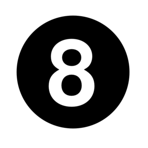 White Numeral  8  Centered Inside Black Circle  Clip Art
