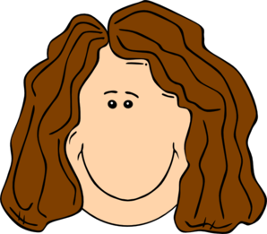 Smiling Brown Hair Lady Clip Art