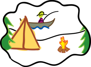 Camping By Fire Clip Art