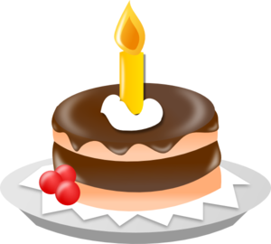 Chocolate Cake With One Candle Clip Art