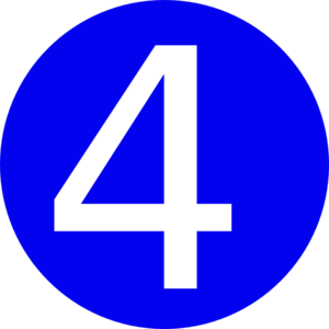 Blue, Rounded,with Number 4 Clip Art