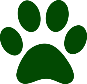 Forest Green Paw Print Clip Art