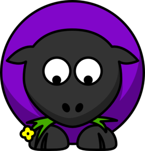 Purple Sheep Looking Up Clip Art