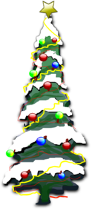 Decorated Christmas Tree With Snow Clip Art
