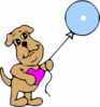 Dog Holding Blue Balloon Clip Art