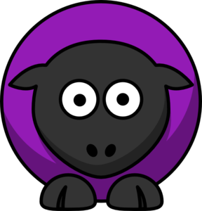 Sheep - Grape Purple On Black  Clip Art