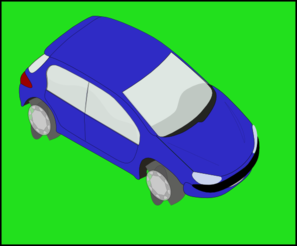 Blue Car (green Background) Clip Art