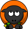 Orange Cartoon Sheep Looking Up Clip Art