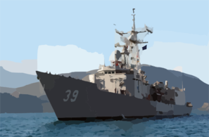 The Guided Missile Frigate Uss Doyle (ffg 39) Is Assisted By Greek Tugs As She Arrives For A Brief Port Visit In Souda Bay, Crete, Greece. Clip Art