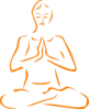 Orange Meditating Silohette Clip Art
