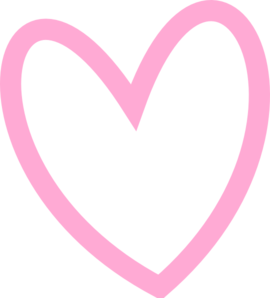Slant Pink Heart Outline Clip Art