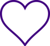 White Heart W/ Purple Outline Clip Art