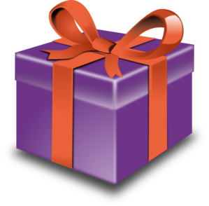 Purple Gift With Red Ribbon Clip Art