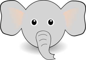 Funny Elephant Face Cartoon Clip Art