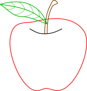 Colored Apple Outline Clip Art